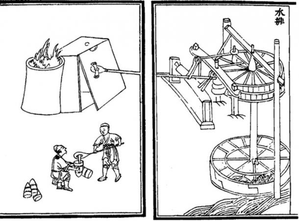 This Medieval printed illustration depicts waterwheels powering the bellows of a blast furnace in creating cast iron. This illustration is taken from the 14th century treatise Nong Shu, written by Wang Zhen in 1313 AD, during the Chinese Yuan Dynasty. (Public Domain)
