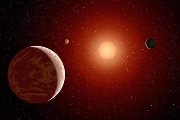 This artist's concept illustrates a young, red dwarf star surrounded by three planets. Such stars are dimmer and smaller than yellow stars like our sun, which makes them ideal targets for astronomers wishing to take images of planets outside our solar system. (NASA/JPL-Caltech)