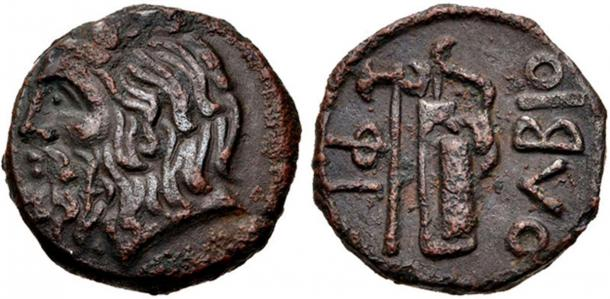 This coin from Olbia, circa 310-280 BC appears to have the image of the Scythian bow. (CC BY-SA 3.0.