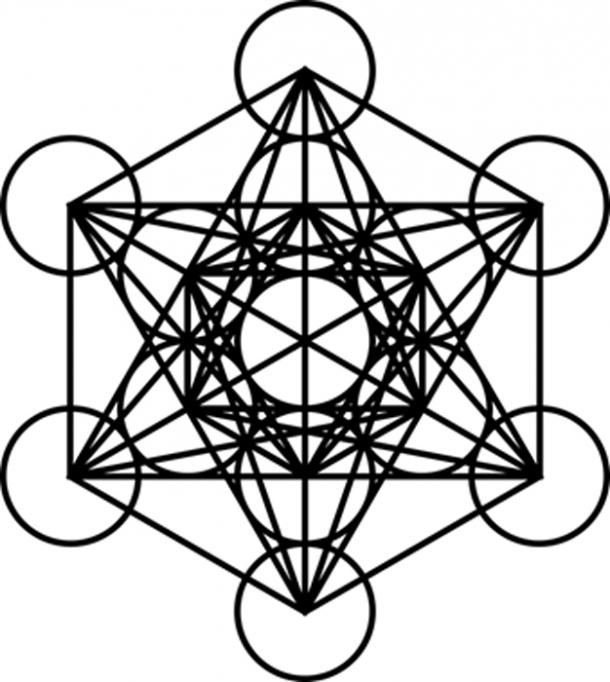 This complex Sacred Geometry structure – Metatron's Cube, is derived from the ancient structure of the Flower of Life. It is named after the Archangel Metatron. (Public Domain)