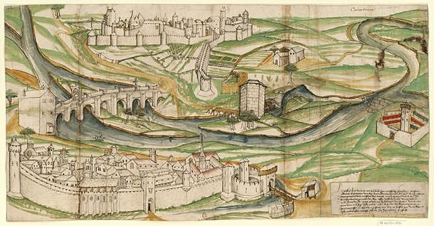 This drawing of Carcassonne from 1462 was found by Jean-Pierre Cros-Mayrevieille, who had a major influence on the project of Carcassonne's restoration. (Public Domain)