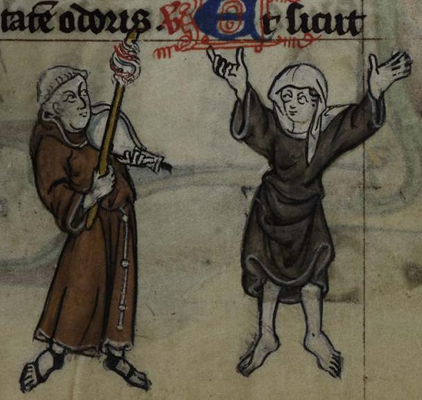 This drollerie Maastricht Book of Hours depicts a woman (a nun?) dancing to music played by a monk. (Public Domain)