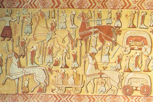 This embroidered tapestry from the Oseberg burial probably portrays a religious procession. (Photo: Museum of Cultural History, University of Oslo)