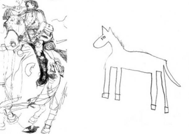 This is a drawing of a horse by Nadia, a gifted autistic child artist (left) and by a typically developing child of the same age (right). Credit: Penny Spikins, University of York