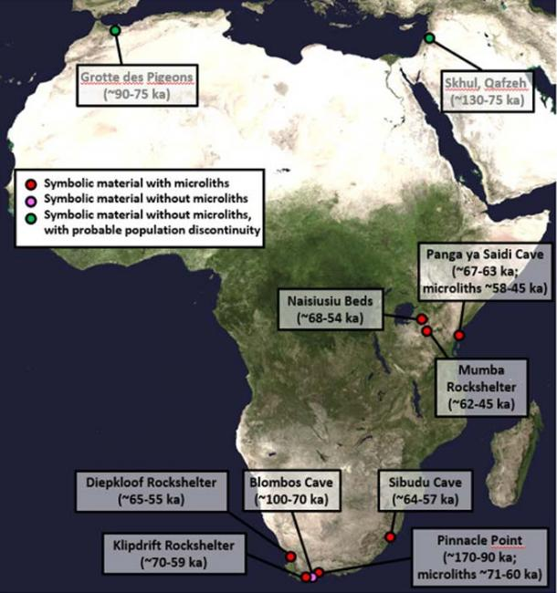 This is a map showing early African archaeological sites with evidence for symbolic material and microlithic stone tools. Credit: NASA Goddard Space Flight Center Image by Reto Stöckli