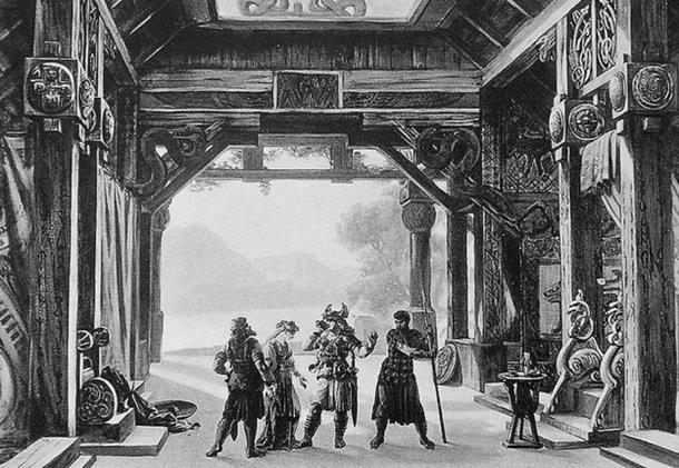 This is a monochrome photograph taken of Hoffman's 14 set designs (unknown number) for Wagner's Der Ring des Nibelungen opera in 1876.