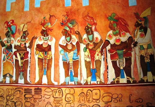 This is an artist's copy of a mural at the Temple of the Murals at Bonampak, a Maya archeological site.