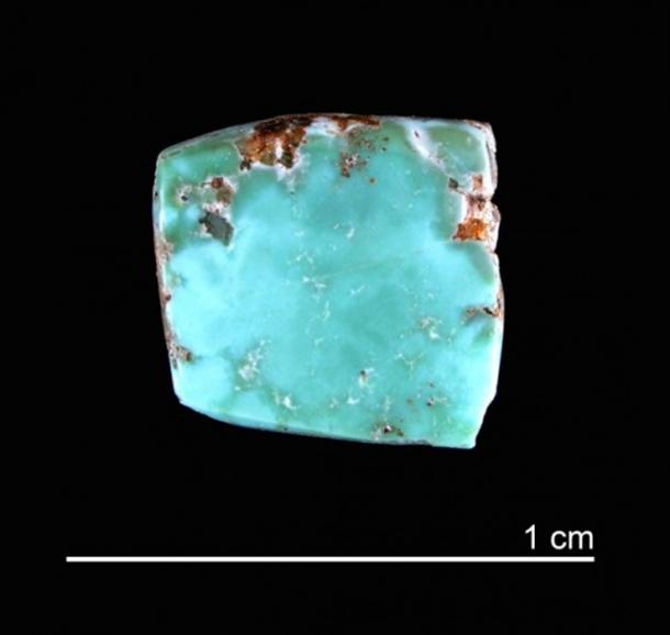 This is an image of a turquoise artifact linked to Canyon Creek. Credit: Courtesy of Saul Hedquist