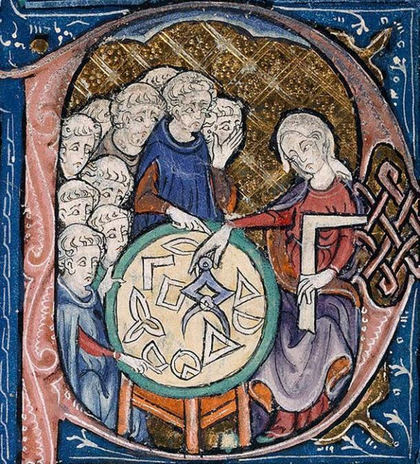 This mediaeval illustration from the AD 1310 translation of Euclid's Elements shows a woman teaching geometry to male students. (Public Domain)