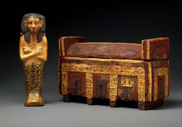This model coffin and shabti of Wahneferhotep, the King's Son, is made from wood, paint and gold leaf. It was found at the causeway of the pyramid of Senusret I, el-Lisht; Twelfth or Thirteenth Dynasty. Inscribed funerary spells enabled the owner to avoid working in the afterlife. Metropolitan Museum of Art, New York.