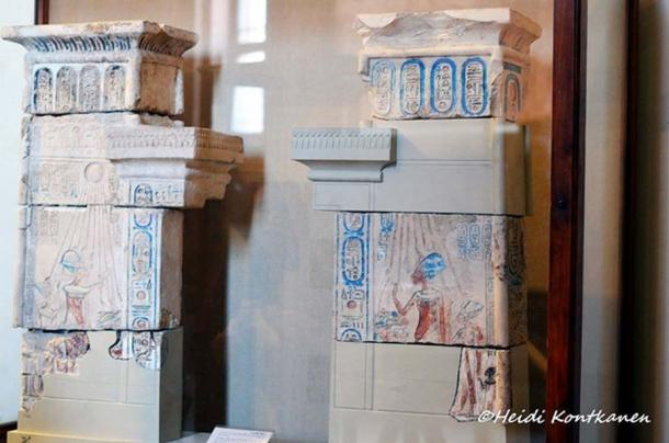 This model house-altar or shrine in the form of a temple façade was discovered at Tell el-Amarna. The walls of the two wings of the pylon are symmetrically decorated with scenes of Akhenaten, Nefertiti, and their eldest daughter, Meritaten, worshiping the sun disc, the Aten. Egyptian Museum, Cairo.