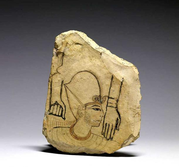 This ostracon sketch depicts a king wearing the blue crown, a collar, and two strings of gold beads. His stubble beard is a sign of mourning. The features of the king make it likely that Seti I is represented. The elaborate execution of the royal image, which is the work of a master painter, differs from the depiction of the two hands. This sketch was probably a model for trainees. Walters Art Museum. Baltimore, Maryland.