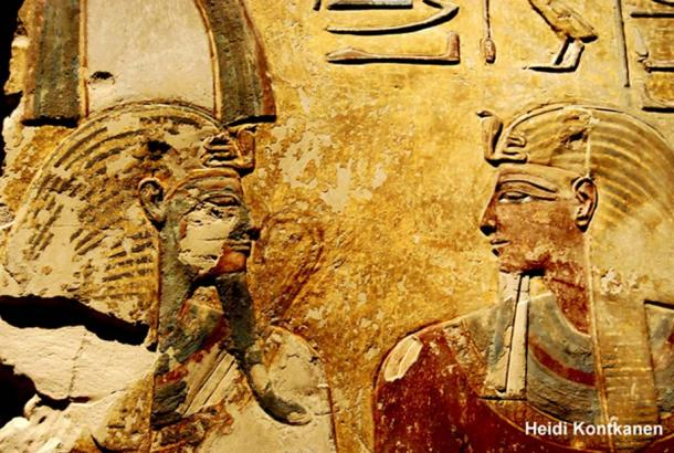 This painted relief that originated from a pillar in the tomb of Seti I (KV 17) shows the pharaoh (right) in the presence of Osiris. Neues Museum, Berlin.
