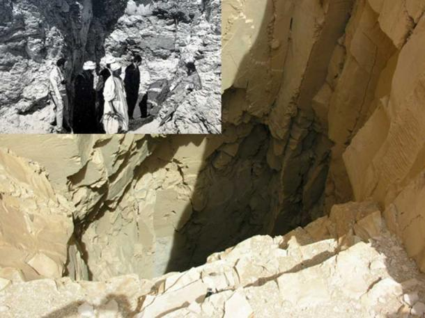 This plain-looking shaft in Deir el-Bahri led Emil Brugsch to DB320 in 1881, where the most extraordinary cache of royal mummies lay concealed for millennia. (Inset) Brugsch overseeing the removal of the cache contents.