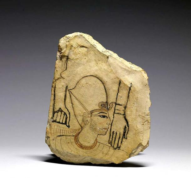 This rare ostracon sketch depicts a king wearing the blue crown, a collar, and two strings of gold beads. His stubble beard is a sign of mourning. The features make it likely that Seti I is represented, but it is also speculated to show Ramesses II. Walters Art Museum. Baltimore, Maryland.