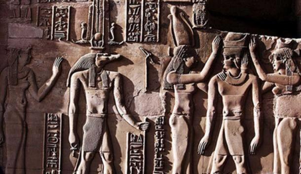 This relief from the Temple of Kom Ombo shows Sobek with typical attributes of kingship, including a was-scepter and royal kilt. The ankh in his hand represents his role as an Osirian healer and his crown is a solar crown associated with one of the many forms of Ra. (Hedwig Storch/CC BY SA 3.0)