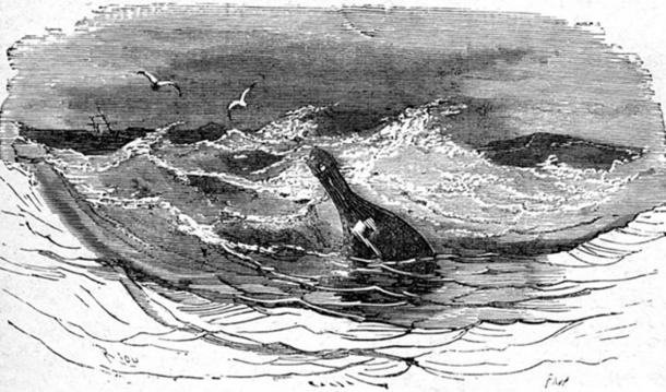 This romanticized Édouard Riou drawing of a message in a bottle was included in Jules Verne's 1860s book In Search of the Castaways. (Public Domain)