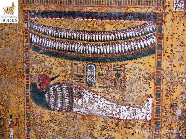 This scene from the decorated upper portion of the east wall in KV62 shows the mummified Tutankhamun lying supine within a tall, garland-bedecked shrine, being dragged by five groups of men – 12 in all (not in picture). (Photo: Meretseger Books)