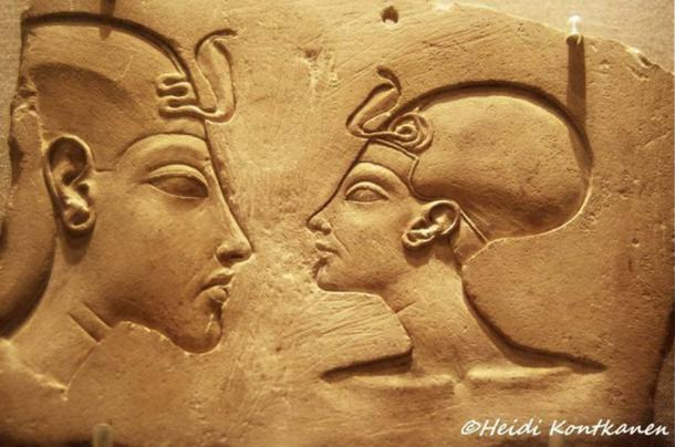 This sculptor's model, popularly known as the Wilbour Plaque - named for the early American Egyptologist, Charles Edwin Wilbour - represents Akhenaten and his consort Nefertiti in near-equal size—an unthinkable depiction in ancient Egyptian art. But then, the powerful Nefertiti was more than a mere queen in her husband's court. Brooklyn Museum, New York.