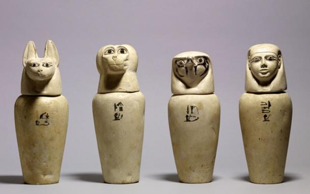This set of canopic jars from Abydos contained the internal organs removed from the body during mummification. The four sons of Horus represented on the lids were believed to protect these organs. (Walters Art Museum)