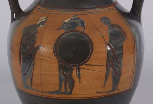 """This vase may portray the common departure scene of two warriors in full armor leaving home for war, or it may represent a famous scene from """"The Iliad"""" in which Priam, king of Troy, comes to claim and pay ransom for the body of his son Hector. Achilles, who killed Hector in single combat, greets the elderly king. Witnessing this scene are a second warrior, who stands next to Achilles, and another man, standing behind. (Public Domain)"""