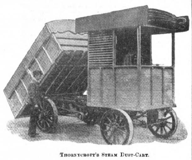Thornycroft Steam Dust-Cart of 1897 with tipper body. (Public Domain)