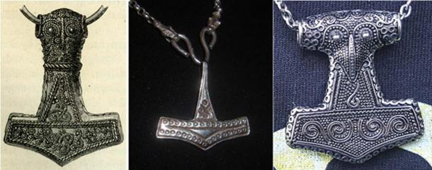 Left to right: Thor's hammer from Bredsättra: A 4.6 cm gold-plated silver Mjolnir pendant from Bredsättra parish, Runsten hundred, Borgholm municipality, Öland, Kalmar county, Sweden (Public Domain). Hammer pendant from Rømersdal, Bornholm (CC BY-SA 3.0). A copy of the Thor's hammer pendant from Skåne (CC BY-SA 4.0)