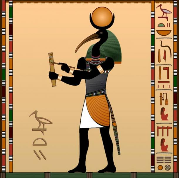 Thoth, the ancient Egyptian god of wisdom, depicted with the body of a man, head of an ibis, and a crescent moon over his head.