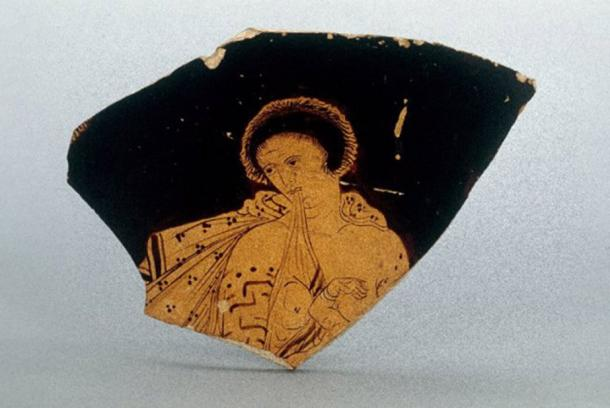 Thracian wet nurse with tattooed arms on a fragment of an Attic red-figure calyx-crater, c. 430-390BC in the British Museum.)