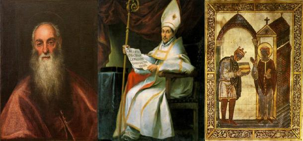 Three Christian writers: St. Jerome(Left) St. Isidore of Seville (Middle) and  St. Bede