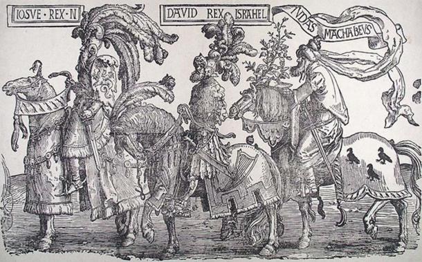 The Three Jewish Worthies: Joshua, David, and Judas Maccabeaus.