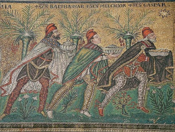 The Three Magi, Byzantine mosaic c.565, Basilica of Sant'Apollinare Nuovo, Ravenna, Italy (restored during the 18th century). As here Byzantine art usually depicts the Magi in Persian clothing which includes breeches, capes, and Phrygian caps.