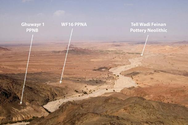 Three Neolithic sites found at Wadi Faynan seasonal river site, southern Jordan. (Image: Researchgate)