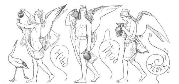 Three ale-bearing Valkyries  - Hild, thrud, and Hløkk in Valhalla, illustration from Grímnismál (1895)