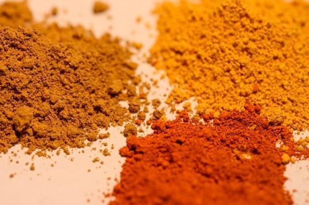 Three different ochre pigments.