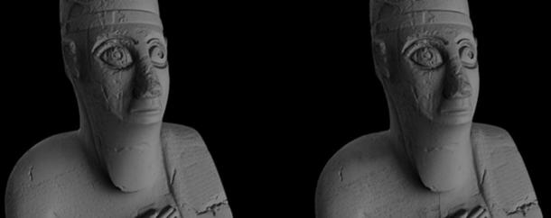 Three-dimensional models created using data recorded via white light scanning (left) and photogrammetry (right).