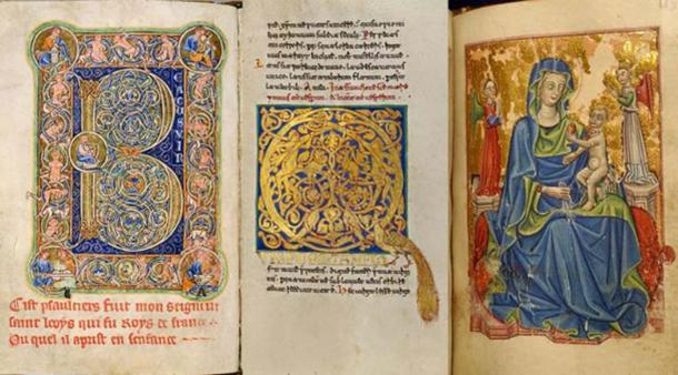 hree examples of decorative Medieval manuscripts made on higher quality parchment (left-right): Saint Louis Psalter 30 verso (1190-1200) (Public Domain), Inhabited initial 'Q' (1153) (Public Domain), and Leaf from Book of Hours (mid-15th century). (Public Domain)