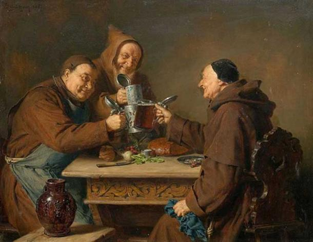 Three monks drinking beer. (1885) By Eduard Grützner.
