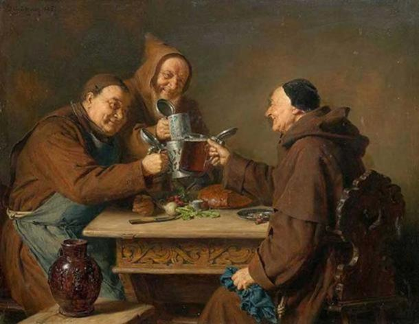 Three monks drinking beer. (1885) By Eduard Grützner