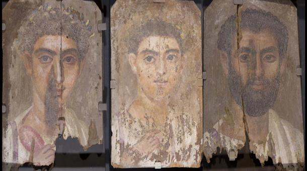 Three mummy portraits which were probably made by the same artist. From the left: 'Portrait of a Boy,'; & 'Portrait of a Young Man,' and ;'Portrait of a Bearded Man.'