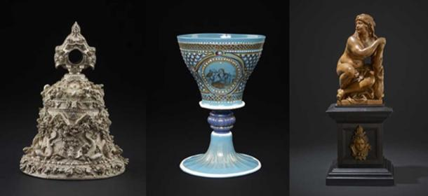 Three other objects in the Waddesdon Bequest: The 'Cellini' bell, a turquoise glass goblet, and a statue of Omphale.