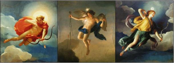 Three paintings showing three deities of Greek mythology as personifications of the times of the day. From left to right: Helios (or sun god Apollo) personifying Day, Hesperus embodying Evening, and Selene (or Diana, Luna) personifying Night or the Moon. Public Domain