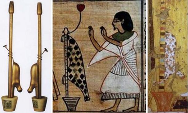 Three representations of the Imiut fetish.