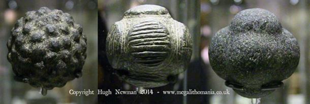 Figure 10. Trois sphères de pierre exposées au British Museum, Londres