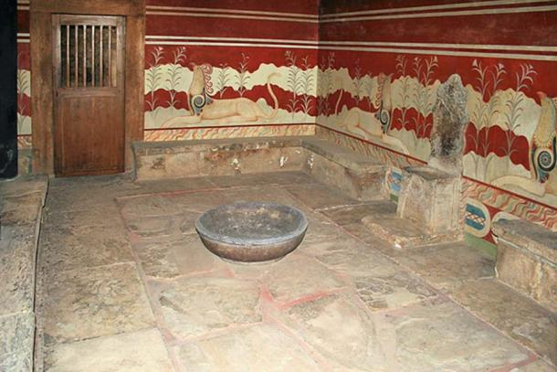Throne room at Knossos with restored/reproduced frescoes