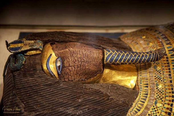 Through the decades - from its discovery in 1907 - in the battered confines of Tomb 55, speculation and debate have raged over the identity of the mummy found in this stunningly beautiful, yet cruelly defaced, rishi-style coffin. The candidates proposed initially comprised the who's who of Amarna royalty: Queen Tiye, Kiya, Akhenaten, Meritaten and Smenkhkare. Recent tests have suggested the Heretic was the last owner of the coffin; but not everyone is convinced. Egyptian Museum, Cairo.