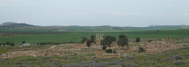 Panoramic view of the expansive ruins of the city of Thuburbo Maius, Tunisia. The city experienced several periods of prosperity and ruin, depending on the fortunes of the Roman Empire at the time.