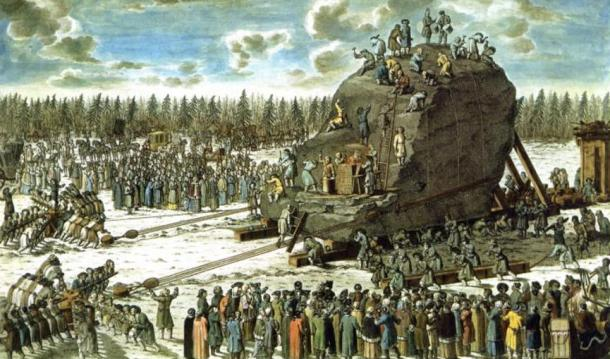 An engraving depicting the transportation of the Thunder Stone.