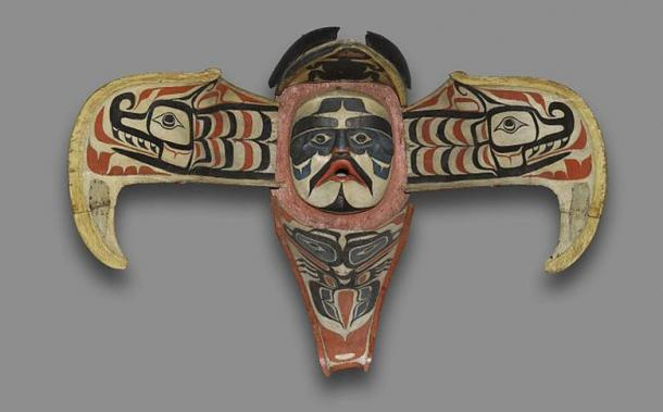 Namgis (Native American). Thunderbird Transformation Mask, 19th century. Cedar, pigment, leather, nails, metal plate, Open: 48 x 71 x 15 in. (121.9 x 180.3 x 38.1 cm). Brooklyn Museum.