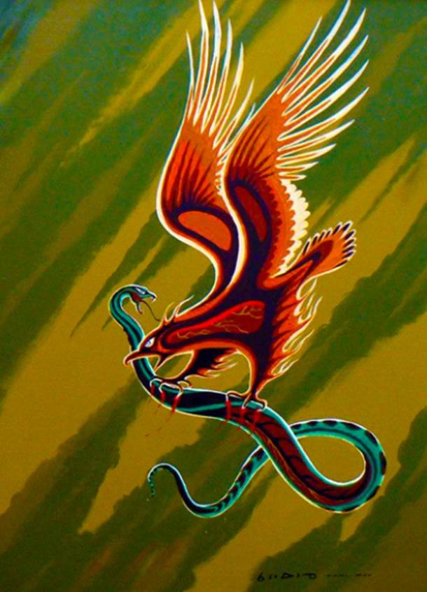 Carl Ray: Thunderbird and Serpent, acrylic on canvas (circa 1970).